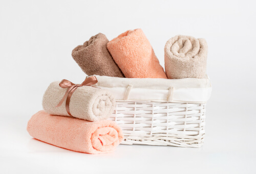 beige and brown terry towels